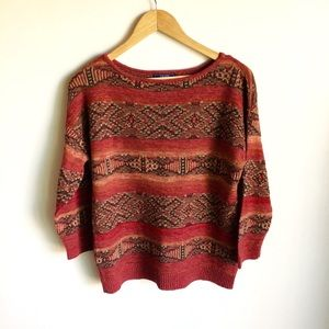 Chaps Denim Crew Neck Sweater Rust tones Size L